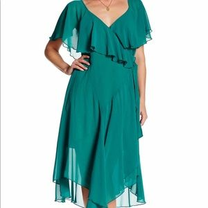 Chiffon flutter wrap dress